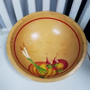 Vintage Wooden Bowl with vegetable design